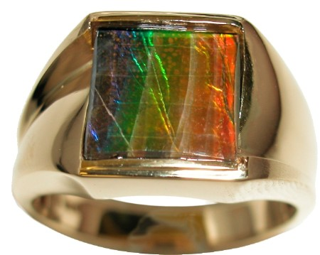 Beautiful Men S Ammolite Faceted Ring In 14k Yellow Gold