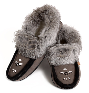 7e9d86bad Ladies' Genuine Suede Moccasin Slipper in Charcoal with Rabbit Fur