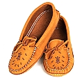 Ladies' Dark Tan Moose Hide Moccasins