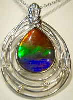 Ammolite Pendant Set In 925 Sterling Silver With Swarovski Crystal