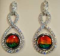Ammolite Earrings Set In 925 Sterling Silver With Swarovski Crystals