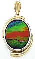 Ammolite Pendant 14K Two Tone White and Yellow Gold