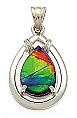 Ammolite Pendant 14K White Gold 9mm x 6mm