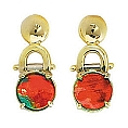 Ladies' Ammolite Drop Earrings 14K Two Tone White and Yellow Gold