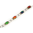 Ladies' Oval Ammolite Bracelet 14K Two Tone White and Yellow Gold