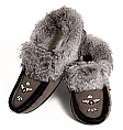 Ladies' Rabbit Fur Suede Slippers in Grey & Black