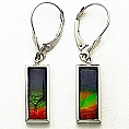 Ladies' Ammolite Earrings 14K White Gold (16mm x 5mm)