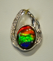 Ammolite Pendant Set In 925 Sterling Silver With Swarovski Crystals