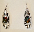 Ammolite Earrings Set In 925 Sterling Silver