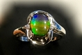 Ammolite Ring In 925 Sterling Silver With Swarovski Crystals
