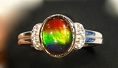 Ammolite Ring 925 Sterling Silver With Crystals