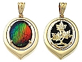 Ammolite Pendant 14K Yellow Gold Centre With All White Gold Frame 18mm x 13mm