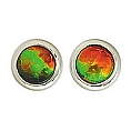 Ladies' Ammolite Stud Earrings 14K White Gold
