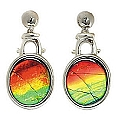 Ladies' Ammolite Drop Earrings 14K White Gold