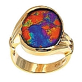 Men's or Ladies' Ammolite Ring 14K Yellow Gold