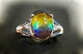 Ammolite Ring In 925 Sterling Silver Withi Crystals